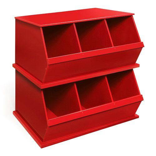 Badger Basket - Stackable Toy Storage Bins, Red - Walmart.com