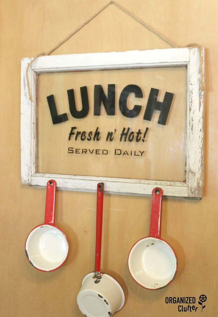 """Organized Clutter: A Funky Junk - Old Sign Stencils Copycat """"Lunch"""" Window Project"""