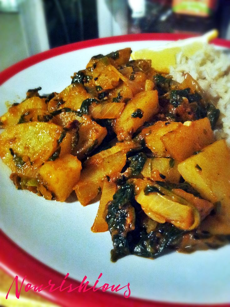 Potato and spinach curry (sag aloo).  Easy to make and delicious (+ spinach is so good for you!).