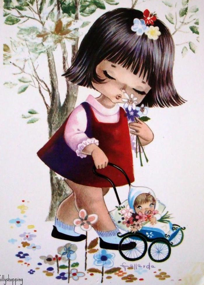 Открытка с изображением девочек