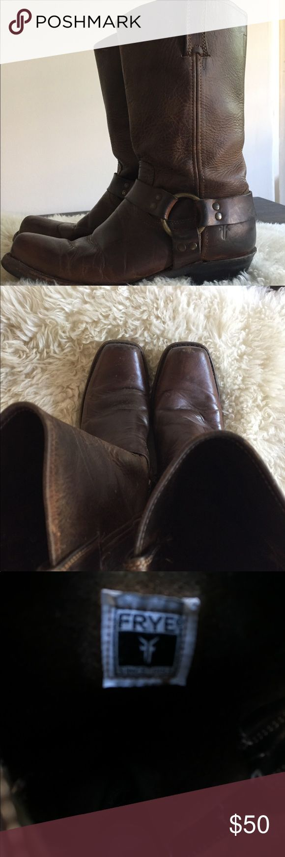 Frye harness boots brown women's 10 Vintage, lived in distressing. Classic style. Recently re-heeled and shined. Frye Shoes Heeled Boots