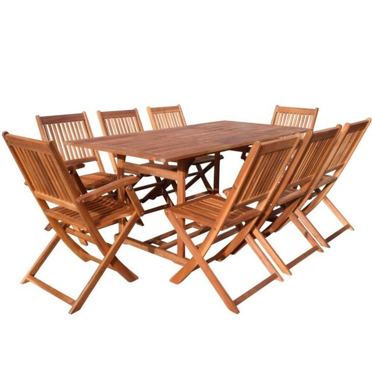 wooden garden furniture set outdoor patio dining table 8 folding chairs hardwood
