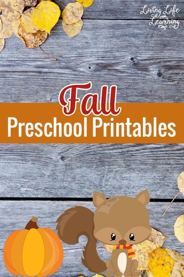 Fall Preschool Printables