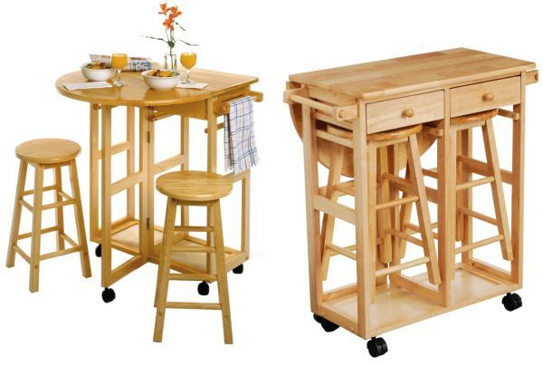 Drop Leaf Table with 2 Round Stools Amazing! So gonna do this in my kitchen