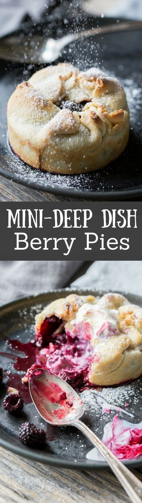 Mini Deep Dish Berry Pies made with Black Raspberries (any ripe berry in season will do) then dusted with powdered sugar, and topped with vanilla ice cream. www.savingdessert.com #berry #pie #minipies