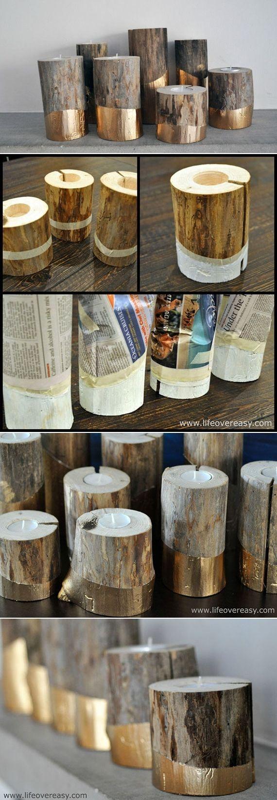 DIY Gold-Dipped Log Candleholders