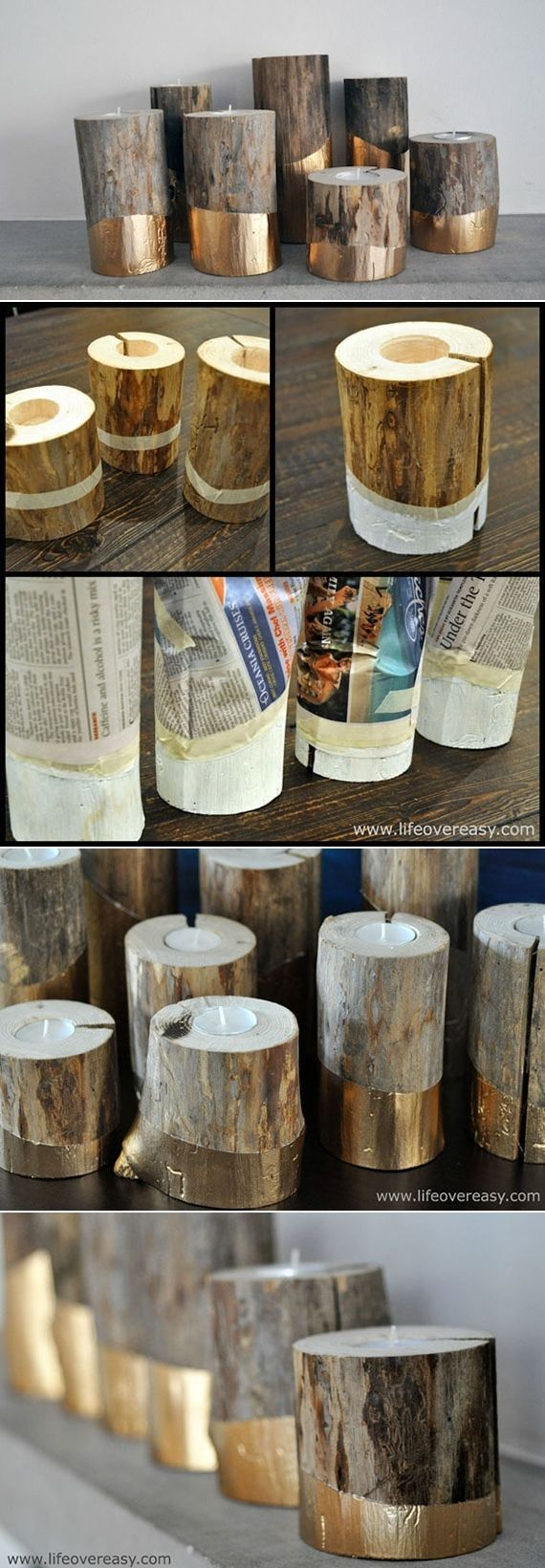 DIY Gold-Dipped Log Candleholders