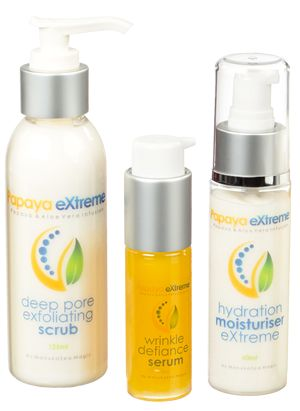Our Papaya eXtreme™ Trio Skincare is made up of 3 elite, high quality skin care products that synergise to create positive glowing results. Deep Pore Exfoliating Scrub - 125ml Wrinkle Defiance Serum - 30ml Hydration Moisturiser eXtreme - 60ml Why not indulge in the very best that nature has to offer! www.nubella.com.au
