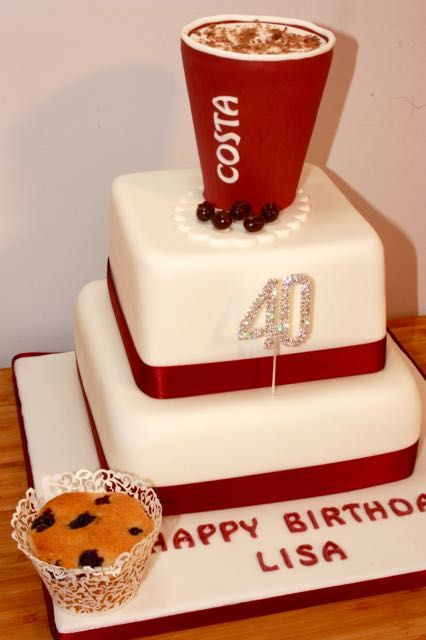 Costa Coffee Birthday Cake - For all your cake decorating supplies, please visit craftcompany.co.uk