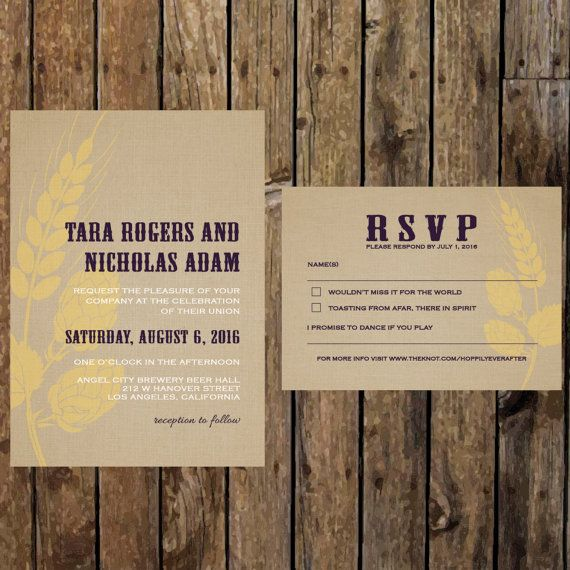 Printable DIY Brewery Wedding Invitation. Modern Beer Wedding themed invitation…