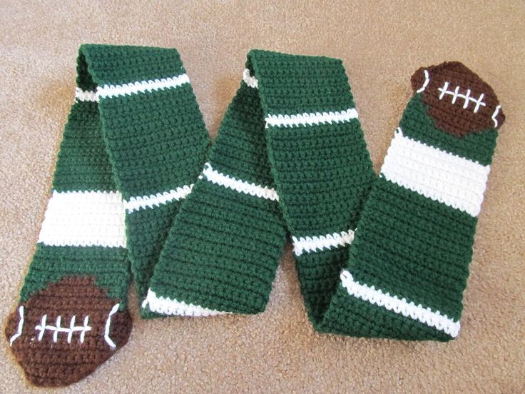 Someone is selling this Football Scarf, Crochet, would love to make one myself. If you know of a pattern I could reference, please comment!