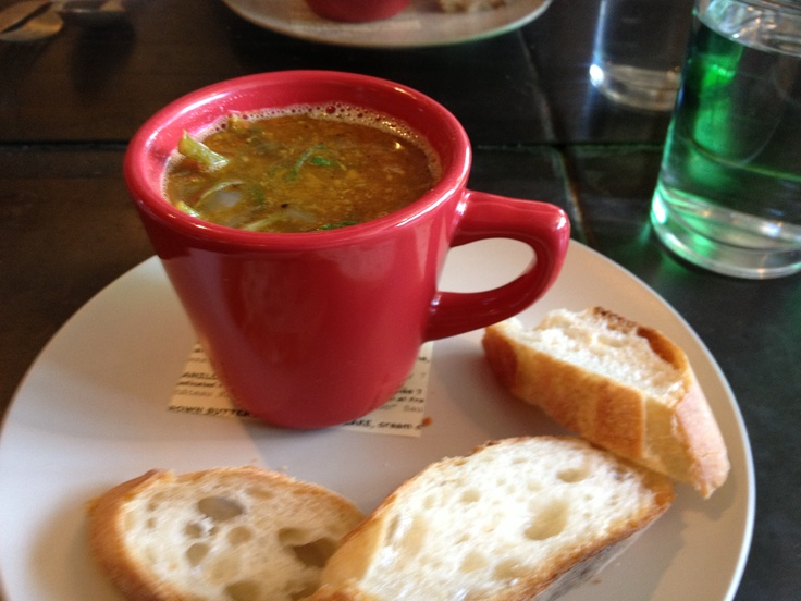 Yummy soup of the day at Olympic Provisions. Great idea for serving soup as an app at your next party.
