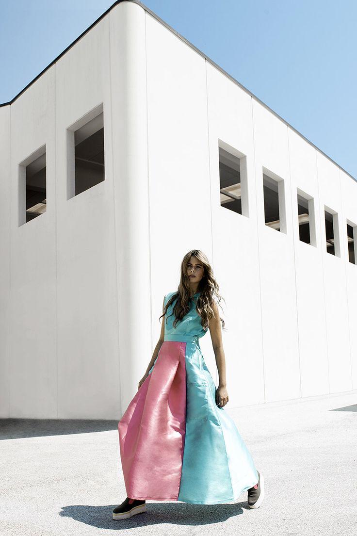 CrossChic SS16 Collection - Spring/Summer Primavera/Estate Abito/Dress Giovanna Nicolai Gonna Lunga Colorata Rosa Blu