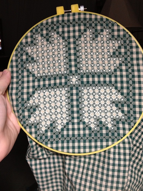 Not quite complete - Bear Claw Square 4 by emjayknits, via Flickr