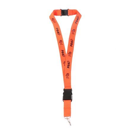 Lanyard cu carabina si snur portocaliu