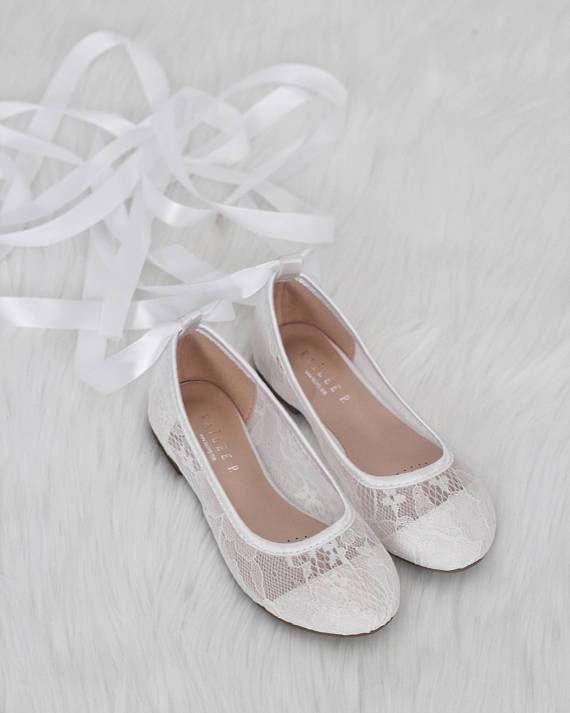 White New Lace Ballerina Flats With Satin Ribbon Lace Up Womens Wedding Shoes Wedding Shoes Wedding Shoes Bridesmaid
