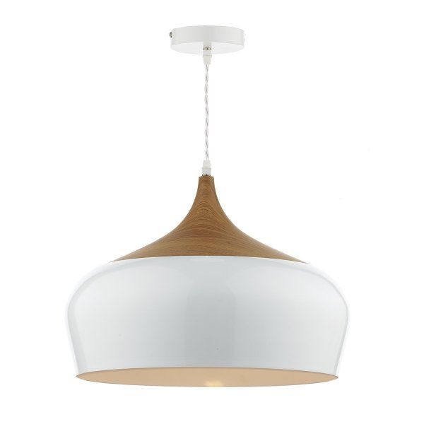 Dar GAU8602 Gaucho 1 Light Ceiling Pendant High Gloss White (Large)