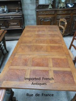 ANTIQUE FRENCH CARVED OAK & WALNUT DINING TABLE - LOUIS XV