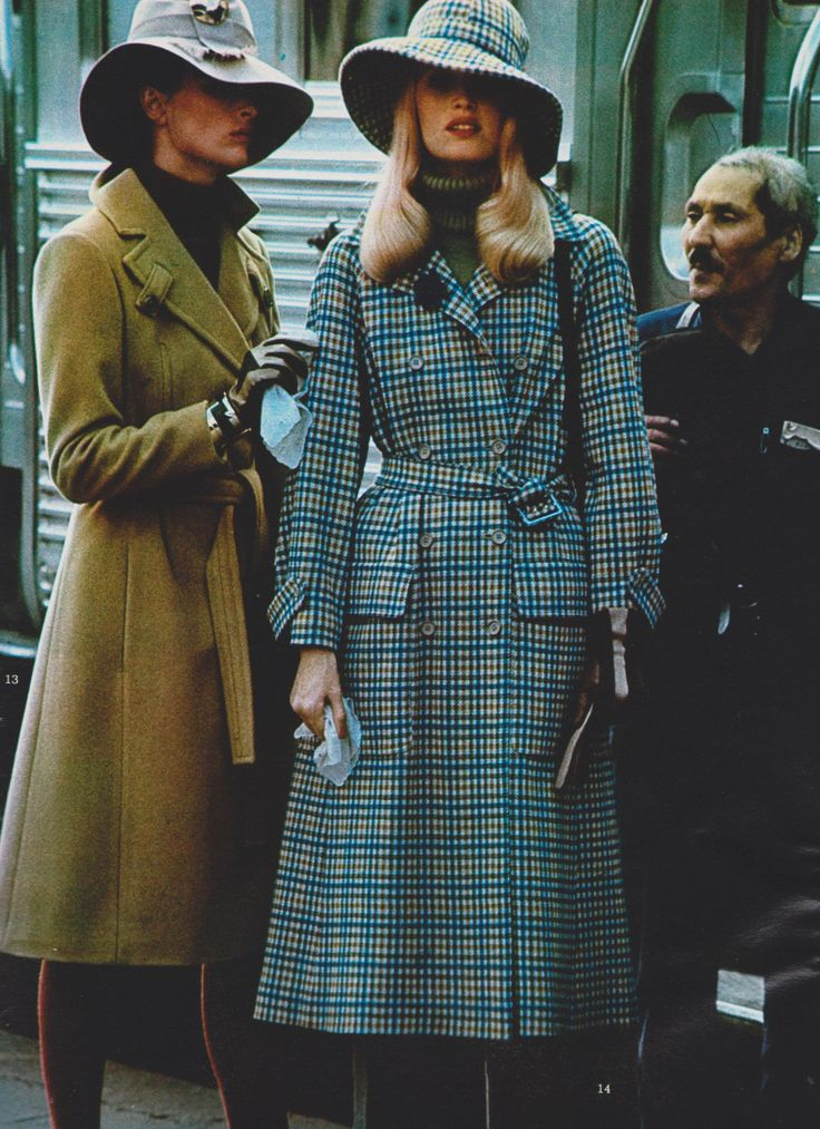Left - jacket: Jacques Delahaye Diffusion Serge Pierre, sweater: Rychter, hat: Brosseau, bracelet: Lanvin Right: jacket: Rodier, hat: Brosseau Elle France - September 6, 1971 Photographed by Hans Feurer Featherstone Vintage