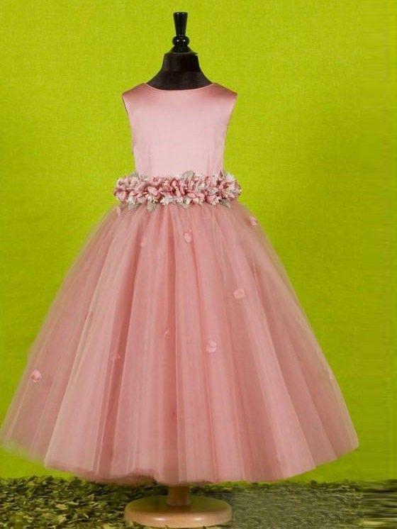 color customizable --- A-line/Princess Scoop Sleeveless Bowknot Floor-length Tulle Flower Girl Dresses