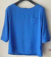 Mujer 3/4 Roll Manga Verano Chifón Top Camisa Blusa Azul Real Trabajo Casual 18