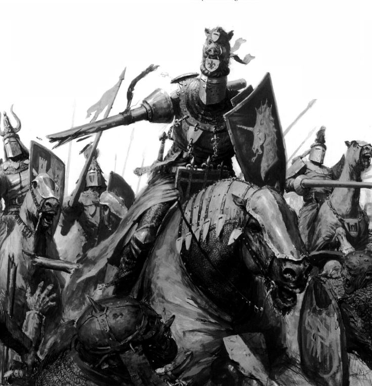 Brettonian Knights fighting against the Greenskins during the Dark Ages