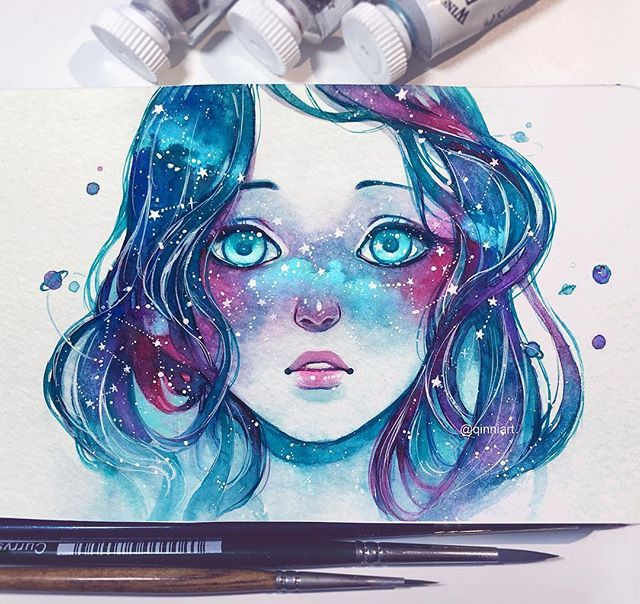 "Space girl. Qinni | Qing Han @qinniart ""Her face wa...Instagram photo 
