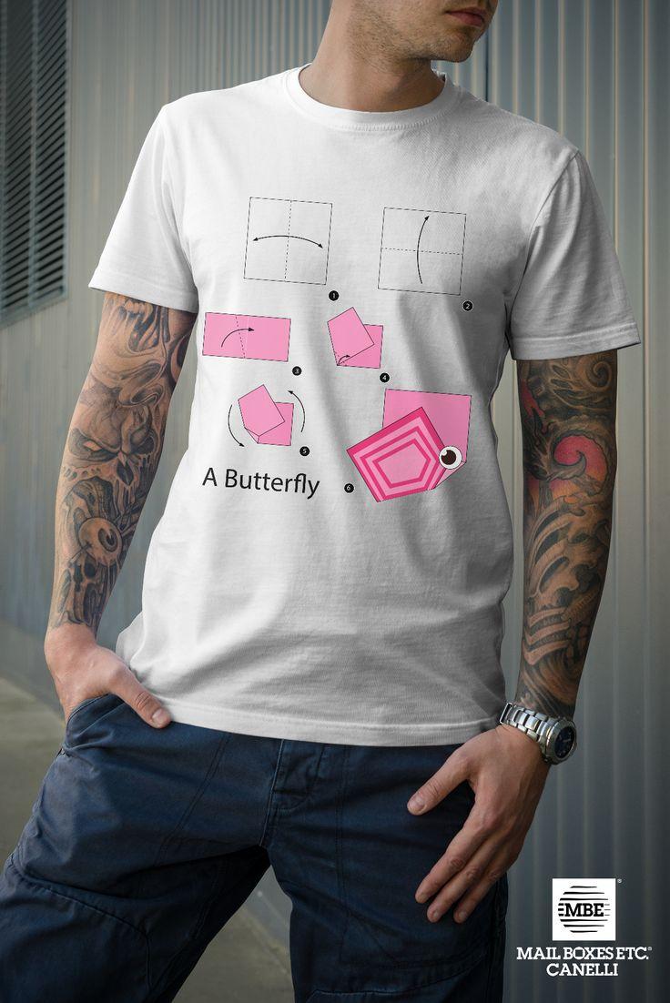T-shirt origami, Butterfly! Per info: mbe644@mbe.it 0141 822675