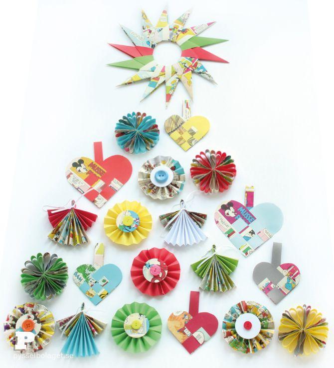 Vikta pappersdekorationer till jul