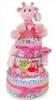 Giggly Pink Giraffe Baby Girl Diaper Cake - As Your Baby Grows Gift Boutique