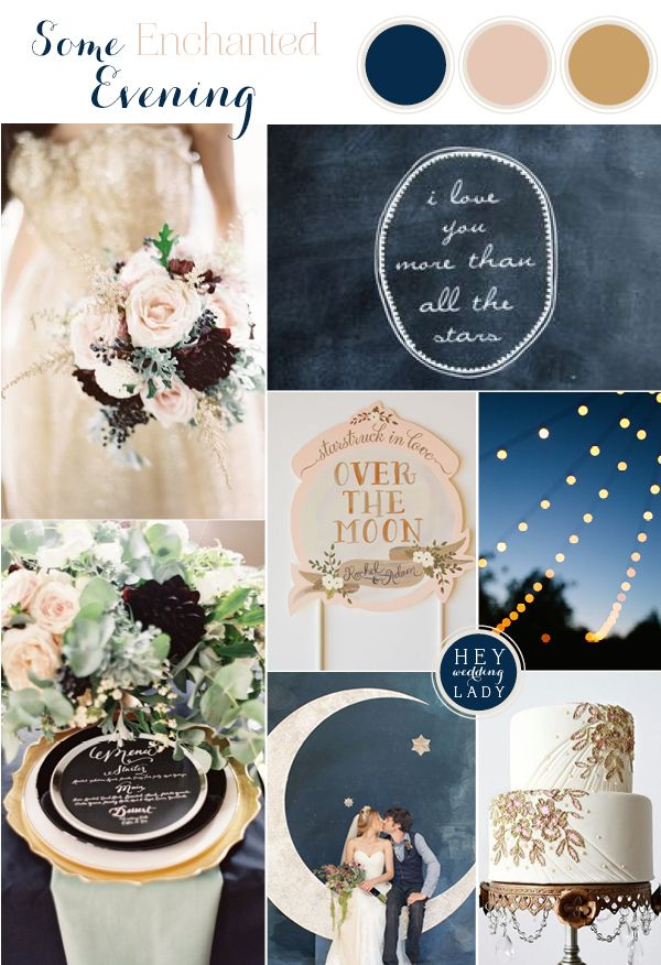 An Astronomy Themed Wedding Inspiration Board in Indigo Blue, Blush, and Antique Gold   See More: http://heyweddinglady.com/astronomy-themed-wedding-in-indigo-blush-and-gold/