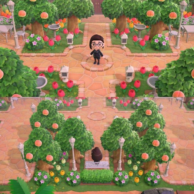Finally Finished My Entrance Area Can T Wait Until Next Cherry Blossom Area Blossom Cherry Entrance Finall Animal Crossing Garden Animals Cherry Blossom
