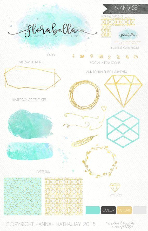 Boutique – Logotipo de la moda – Sello de la marca de lámina de oro – Logotipo de oro – Logotipo Diseño de logotipo de acuarela geométrica azul Prefabricado – Diseño de sitio web (Artículo # 141BK)   – Logos & Branding