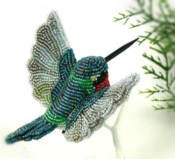 Hummingbird Miniature Figurine Beaded Animal Totem by MeredithDada