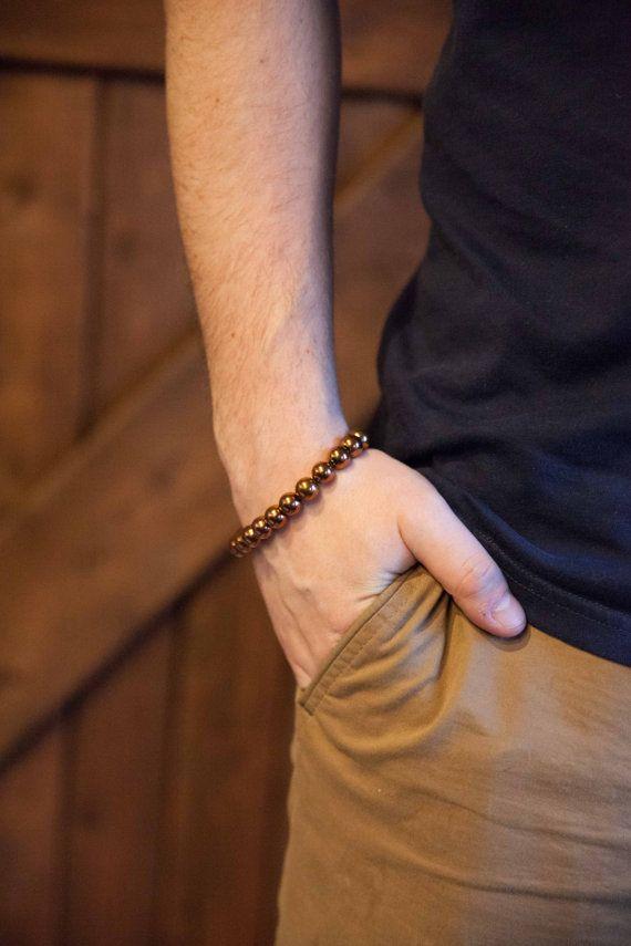 Men's copper bracelet hematite bracelet mens bracelet