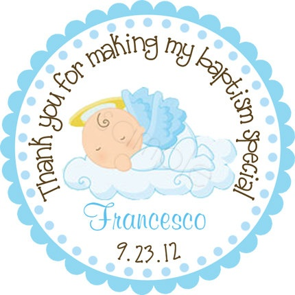 Our Little Angel Baby Boy Personalized Stickers - Party Favor Labels, Address Labels, Christening, Baptism - Size Choice. $6.00, via Etsy.