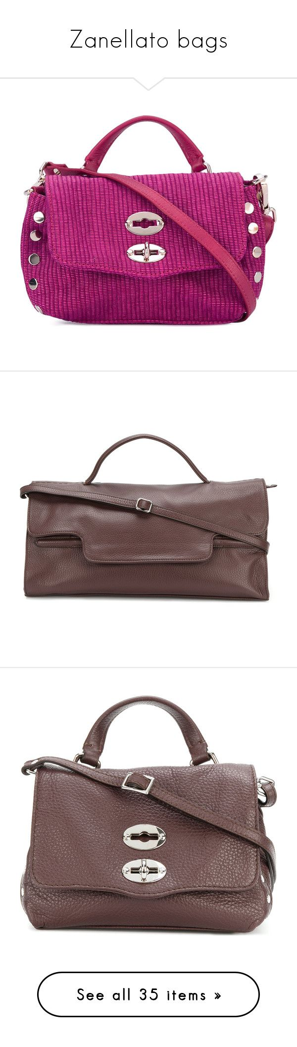 """Zanellato bags"" by cecilialukas ❤ liked on Polyvore featuring bags, handbags, tote bags, purple purse, purple tote bags, purple leather purse, purple leather tote, leather purses, red and brown bag"