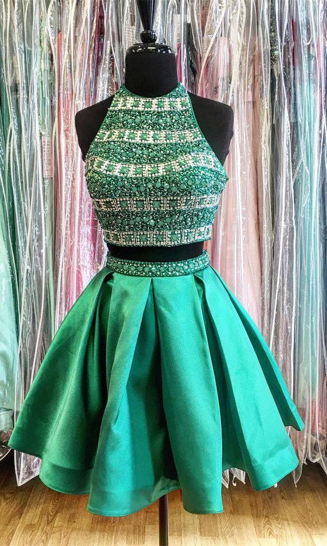 two piece prom dress, short prom dress, 2017 short prom dress homecoming dress, green short prom dress homecoming dress, sparkly prom dress