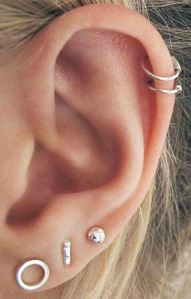 c7b78603b Minimalist Cute Cartilage Helix Ear Piercing Ideas for Women - Wired Metal  Triangle Circle T-