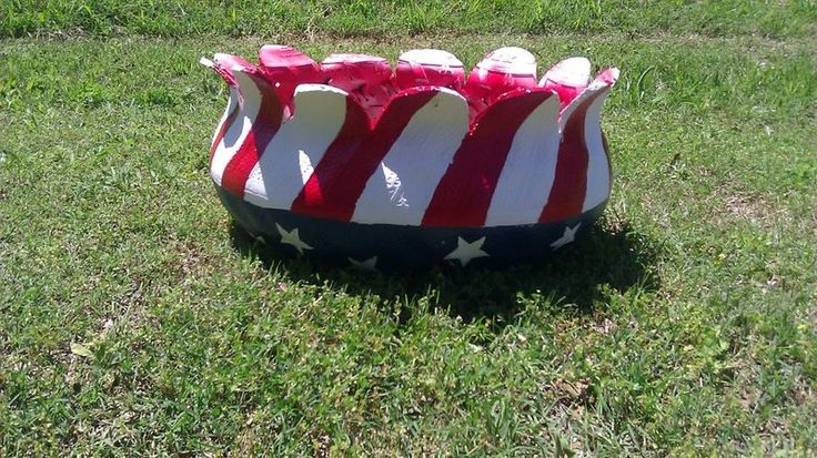 American Flag Planter!  ImaginationGreen... We are very passionate about Upcycling and Art. Since July the 4th will be here before we know it, we have designed and made this flower planter with the american flag design. This is made from preused tires and alot of handmade love. Large in size and simply put... beautiful