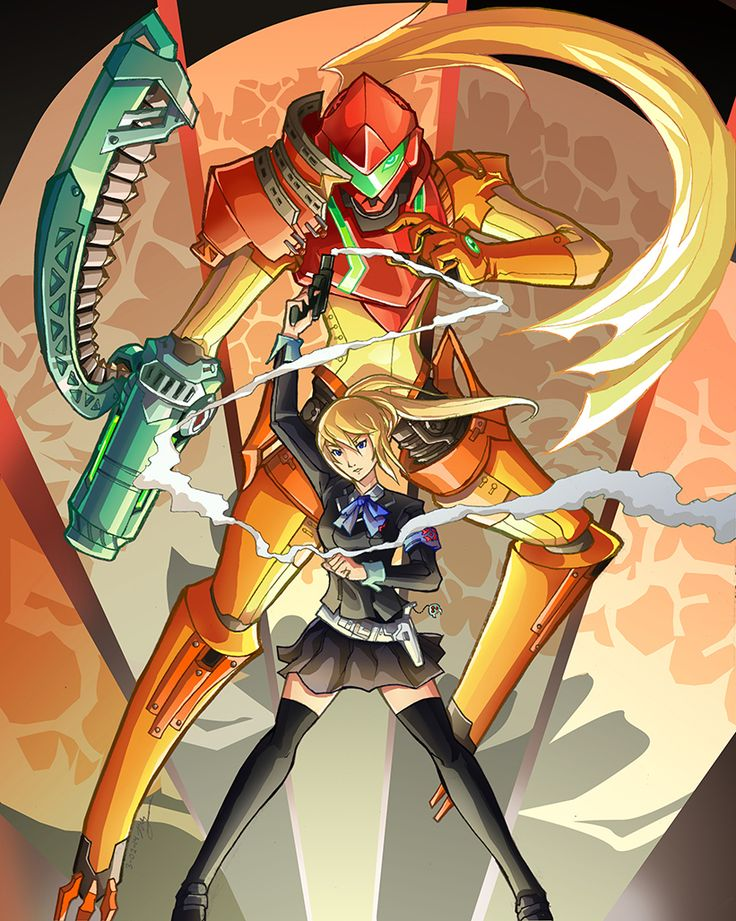 hakuramen:  Me-Troid-So-Na!An idea that was tossed around between a friend and me— fans of Persona and Metroid alike. This crossover was the result.It was a lot of fun incorporating Persona motifs (AIgis frame, footless legs, P3 gun) in context of Metroid. What Arcana would Samus represent?