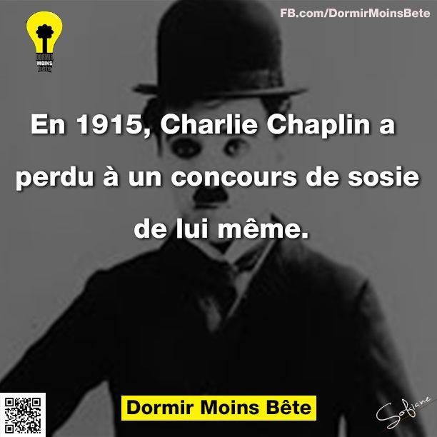 En 1915, Charlie Chaplin a perdu à un concours de sosie de lui même.