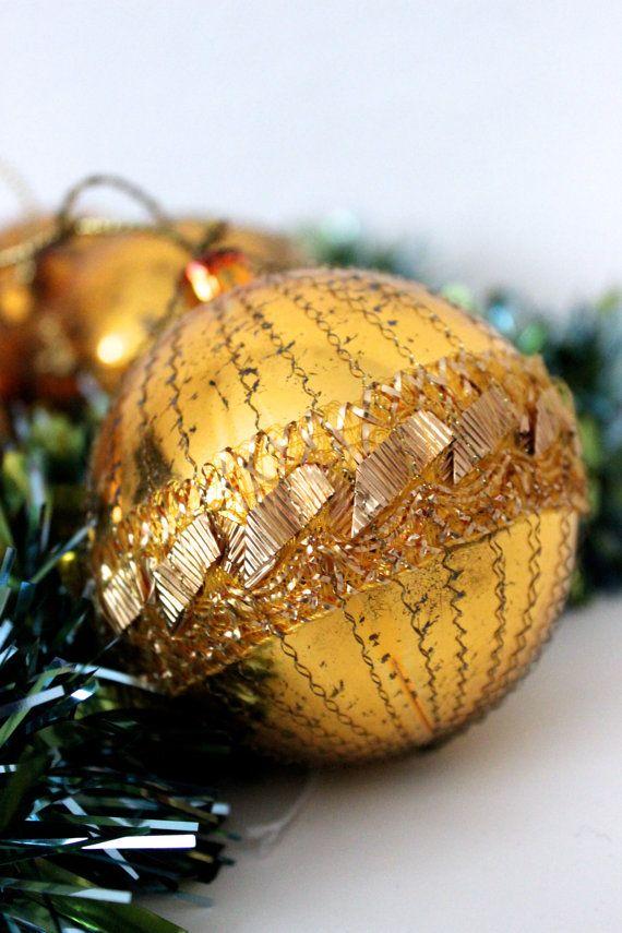 6 Vintage Weihnachts Kugeln Christbaumschmuck Weihnachtsschmuck Gold Glimmer Germany 30er 40er Jahre