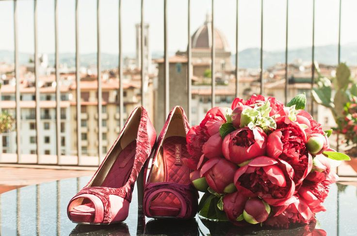 Bridal bouquet , red peony - Florence - Tuscany