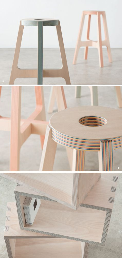 Great Layers Of Wood And Colorful Paper Combine To Create Drill Designu0027s Subtly  Striped Furniture And Accessories. The Stools Are Spectacular!