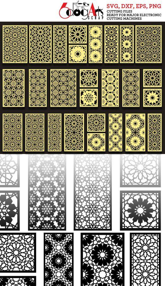 27 Arabesque Muster Grill Panel Vorlagen Digitale Schablonen Geschnitten Svg Dxf Dateien Raum Bildschirm Teiler Laser Schneiden Cnc Plasma Cutter Jb 1033 Arabesque Pattern Arabesque Paneling