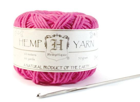 Hemp Yarn, Bright Pink Cotton Hemp Yarn, Soft Hemp, Knitting Hemp Yarn