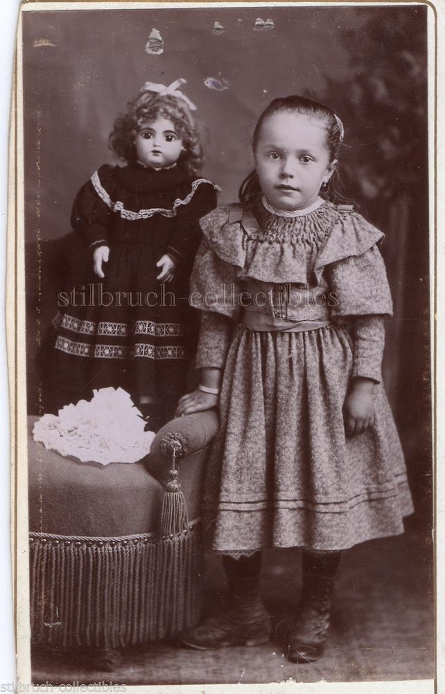 Antique rare huge French Jumeau Doll and Girl CDV Photo Portrait Photograph Card