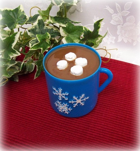 Fake Hot Chocolate Blue Plastic Cup Marshmallows Staging Decor FAKE FOOD PROP