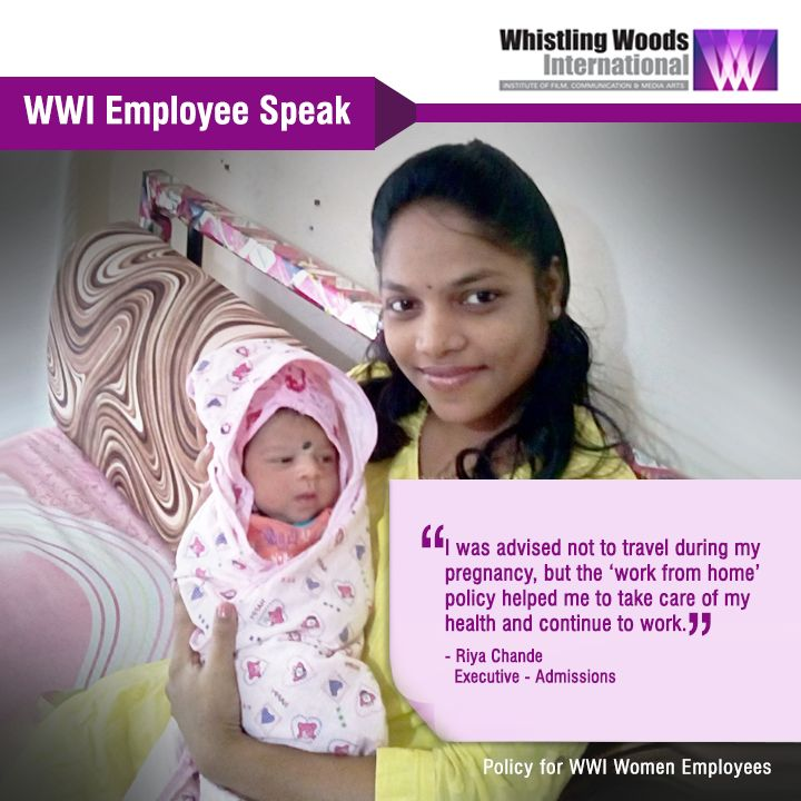 """WWI Employee Riya Chande on Work From Home Policy- """"I was advised not to travel during my pregnancy and the 'work from home' policy helped me to take care of my health and continue to work. I am grateful to Whistling Woods International for this and will remember this gesture forever."""""""